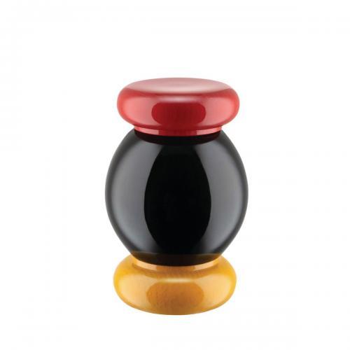 Alessi Salz-/Pfeffer- und Gewürzmühle aus Buchenholz gelb, rot, schwarz, Höhe 11cm