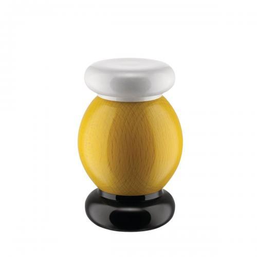 Alessi Salz-/Pfeffer- und Gewürzmühle aus Buchenholz gelb, weiss, schwarz, Höhe 11cm