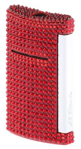 S.T. Dupont Minijet Feuerzeug Swarovski Crystals Rot