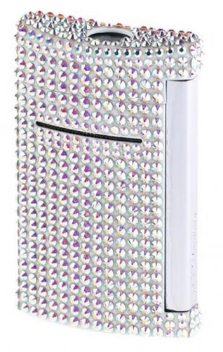 S.T. Dupont Minijet Feuerzeug Swarovski Crystals Silber